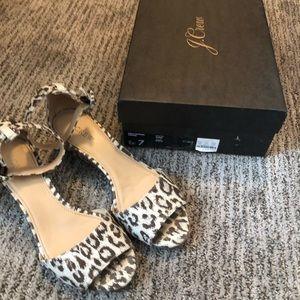 J Crew Leopard print wedge sandal